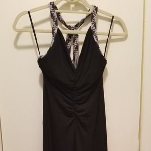 BCBG full length black dress with blue/brown braid